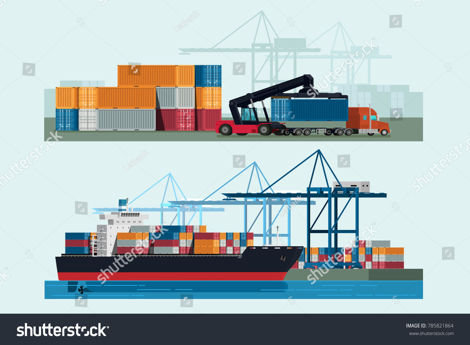 hight resolution of cargo logistics truck and transportation container ship with working crane import export transport industry illustration