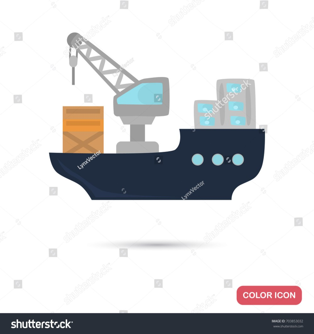 medium resolution of cargo ship color flat icon for web and mobile design