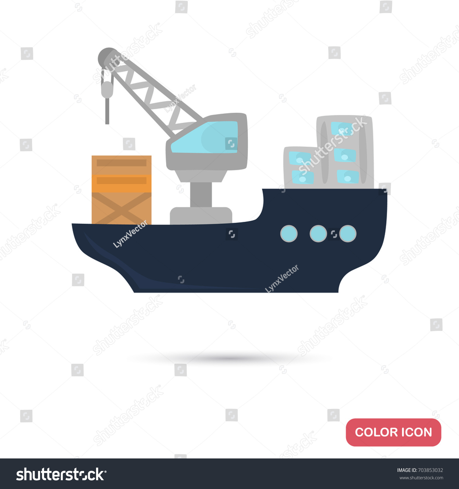 hight resolution of cargo ship color flat icon for web and mobile design