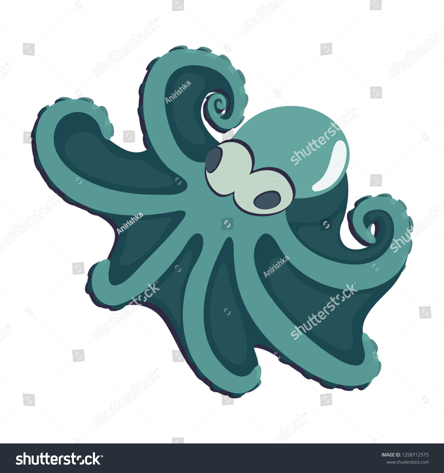 hight resolution of caribbean reef octopus clipart of cartoon octopus on white background cool cartoon character design animal vector illustration for zoo ad nature concept