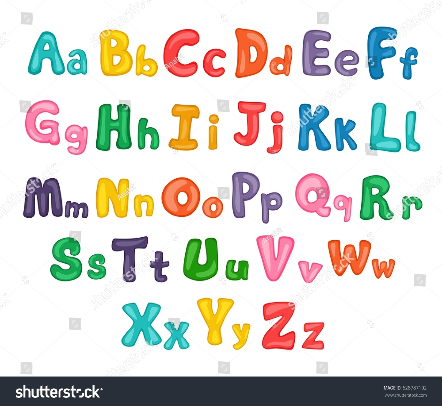 Cartoon Alphabet Illustrated Uppercase Lowercase Letters