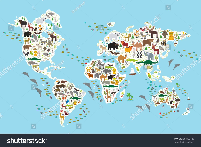Cartoon Animal World Map For Children And Kids Animals