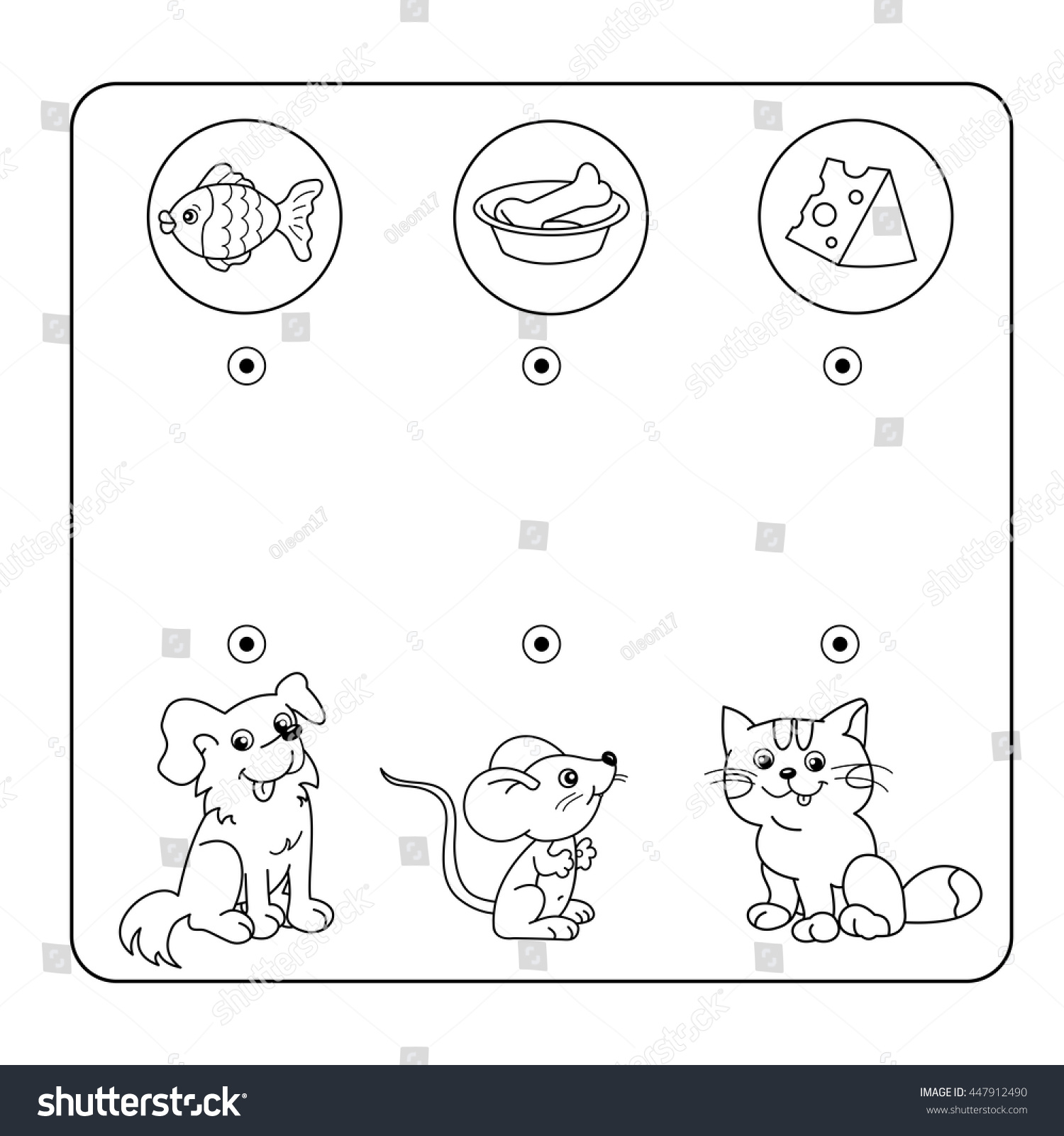 Cartoon Animals Their Favorite Food Maze Stock Vector