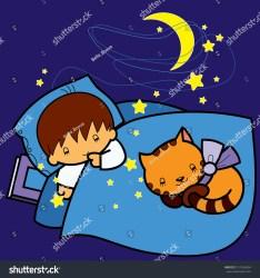 cartoon night sleeping boy bed cat shutterstock vector music illustrations pic