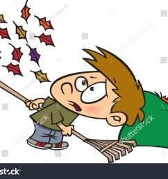 cartoon boy raking leaves [ 1500 x 1135 Pixel ]