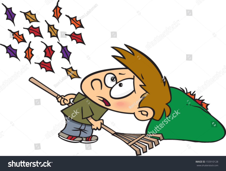 hight resolution of cartoon boy raking leaves