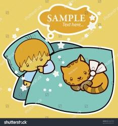 bed cartoon cat sleeping boy vector shutterstock beige concept card