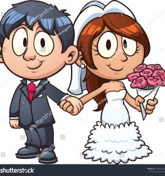 cartoon bride and groom vector clip art illustration with simple gradients all in a  [ 1500 x 1488 Pixel ]