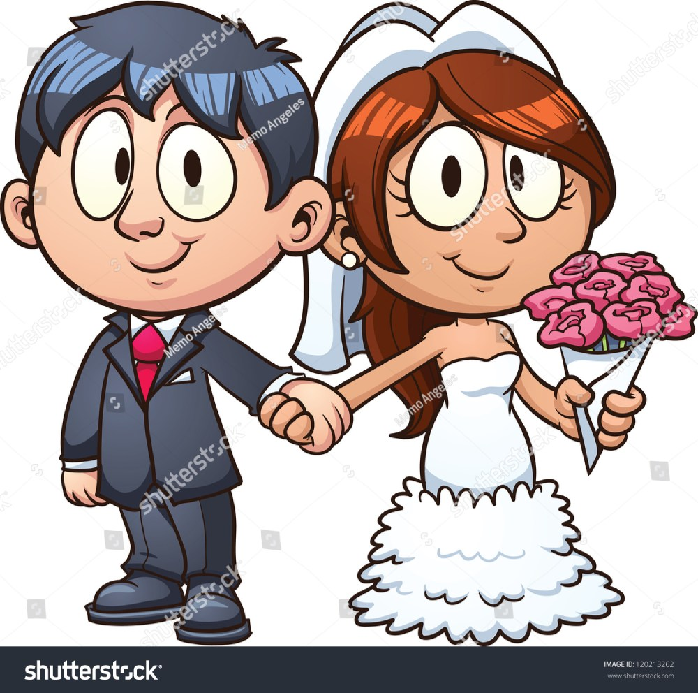 medium resolution of cartoon bride and groom vector clip art illustration with simple gradients all in a