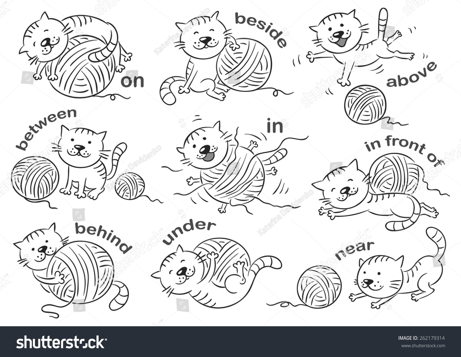 Cartoon Cat Different Poses Illustrate Prepositions Stock Vector