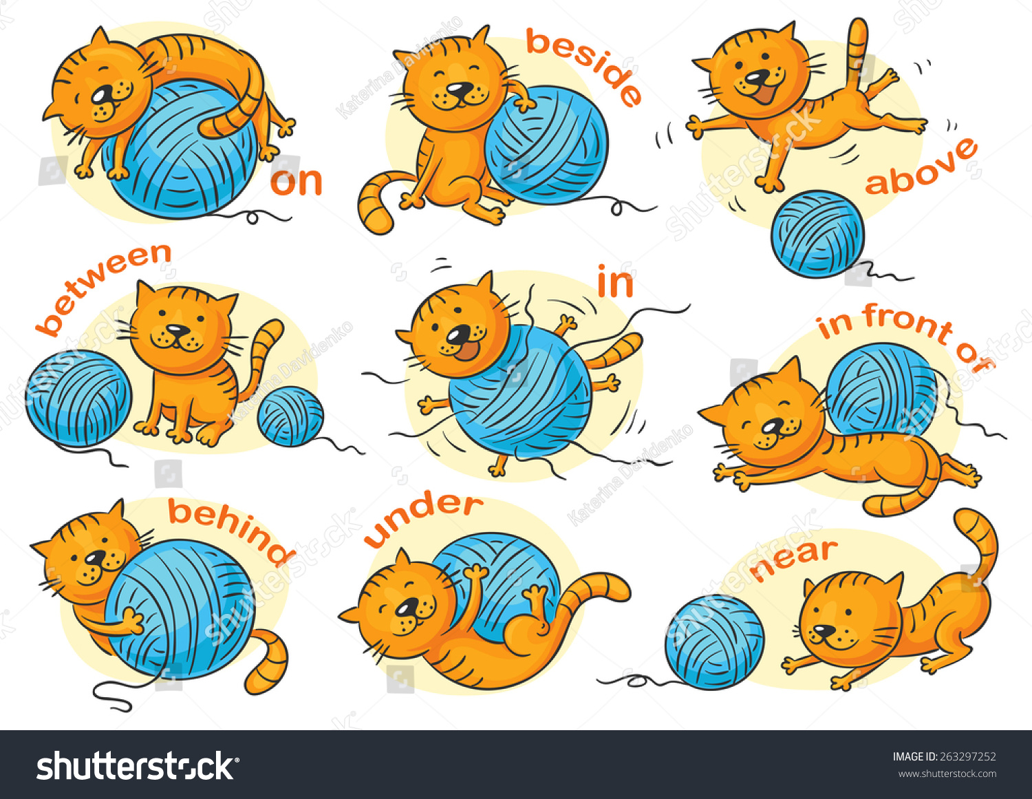 Cartoon Cat In Different Poses To Illustrate The