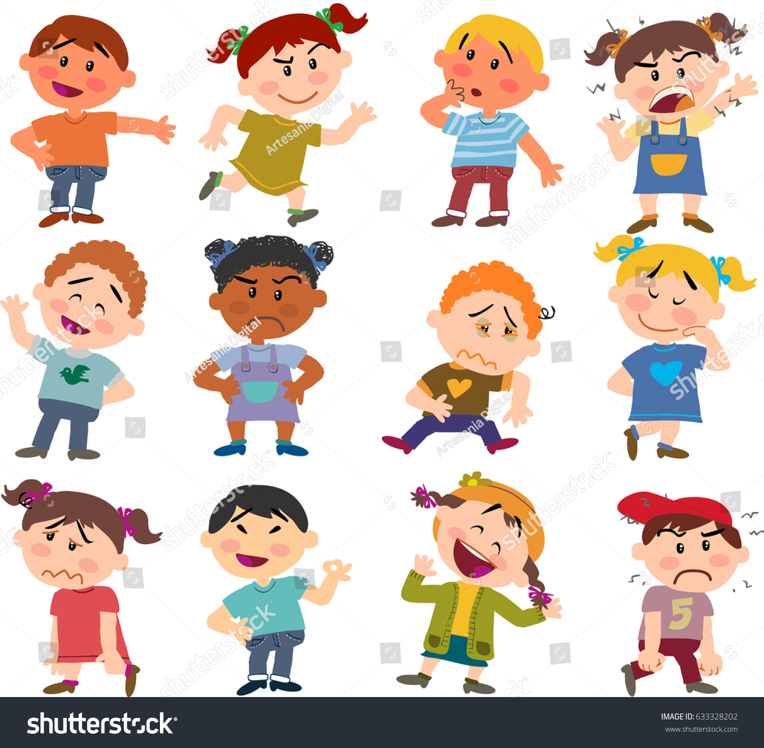 Cartoon Characters Boys Girls Set Different Stock Vector