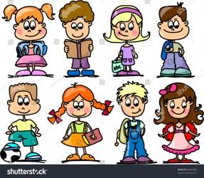 cartoon students children shutterstock vector pic