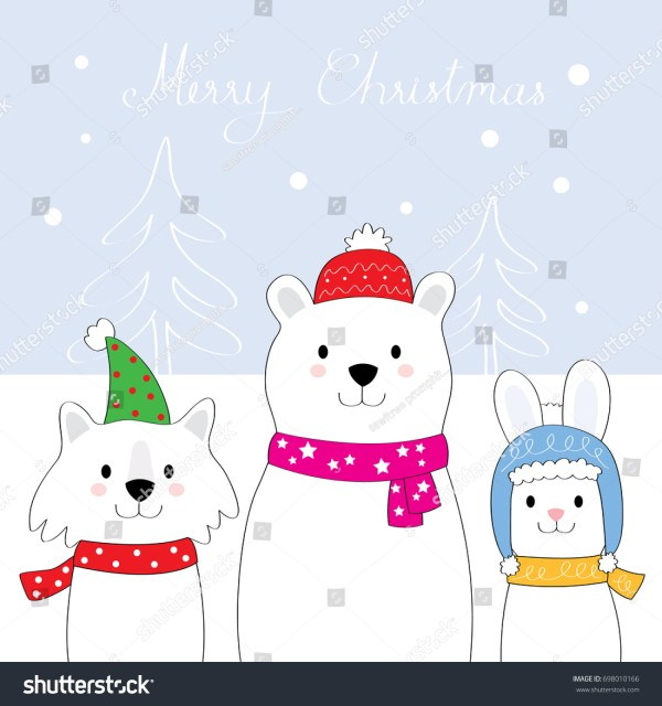 Cartoon Cute Snow Animals Winter Vector Stock 698010166 - Shutterstock