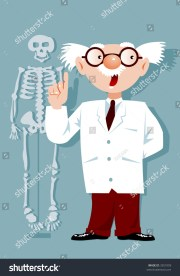 cartoon doctor with white hair
