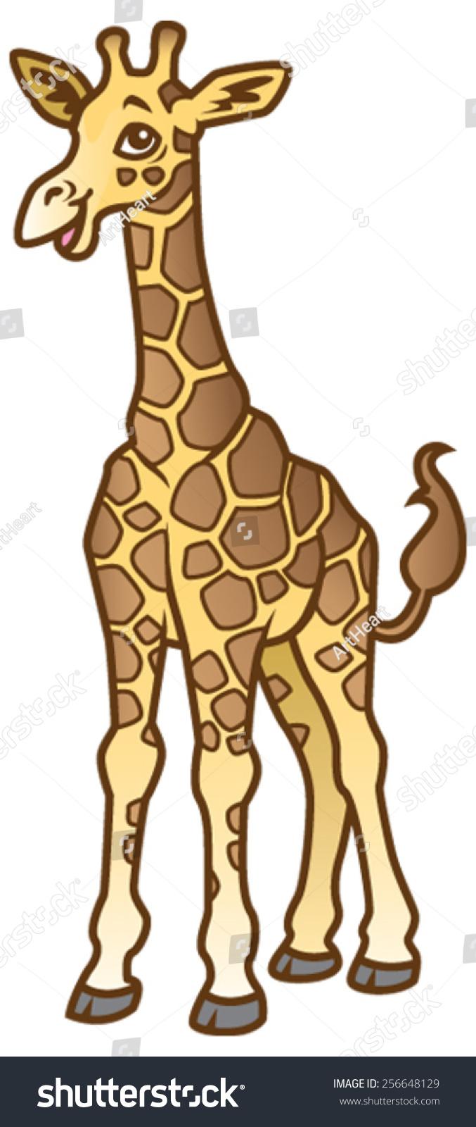 Cute Baby Giraffe Drawing : giraffe, drawing, Cartoon, Drawing, Giraffe, Stock, Vector, (Royalty, Free), 256648129