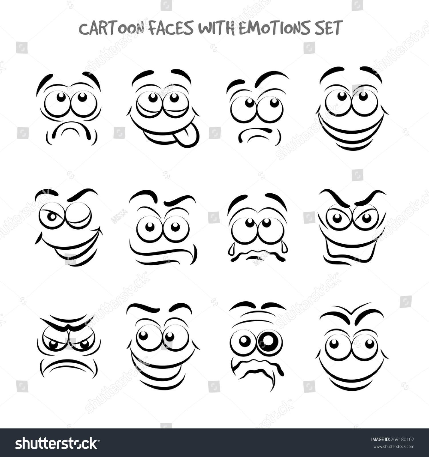 Cartoon Faces Emotions Set Expression Emotion Stock Vector