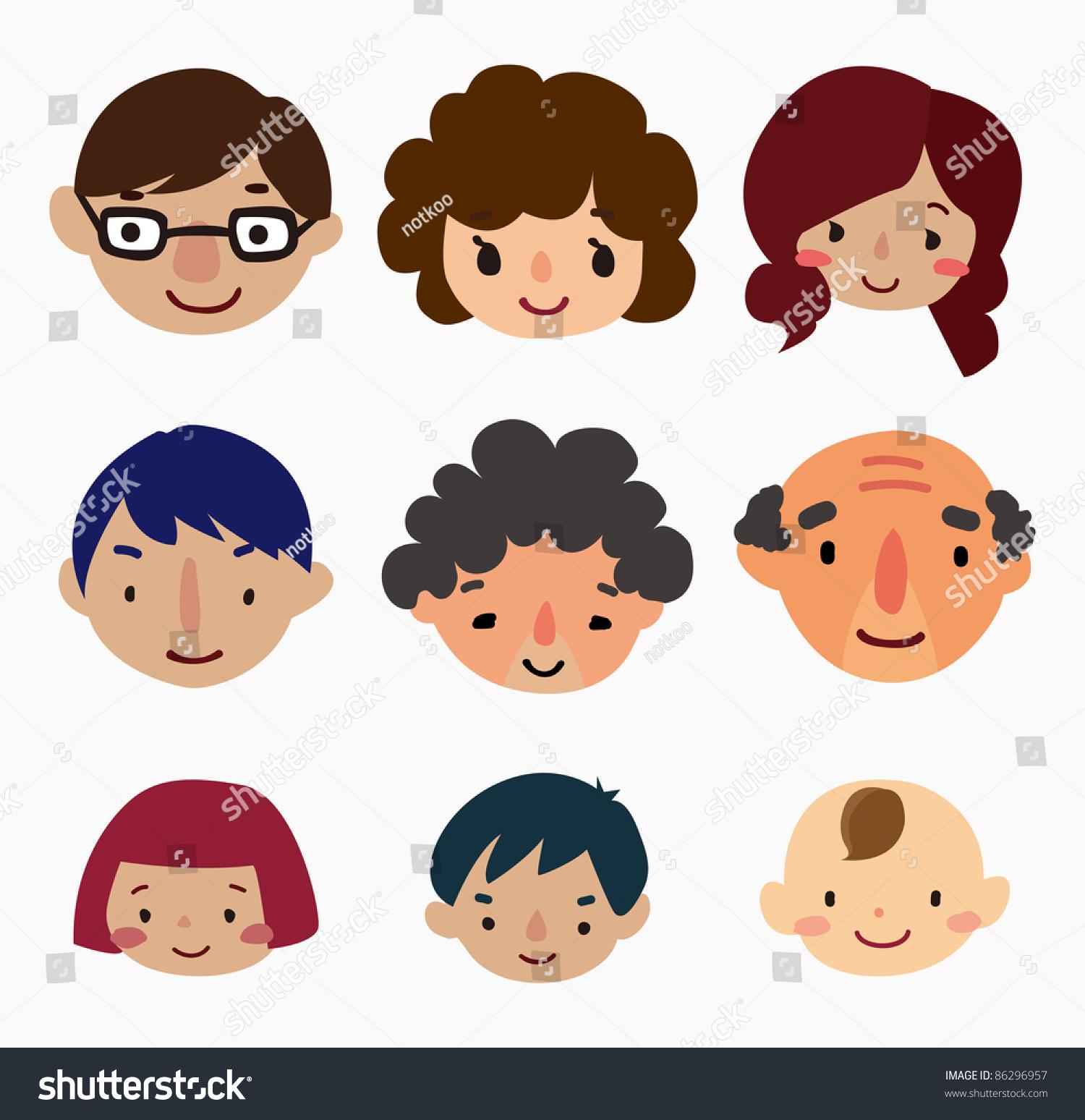 Cartoon Family Face Icons Stock Vector 86296957  Shutterstock