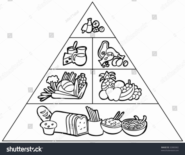 Cartoon Food Pyramid Line Art Stock Vector