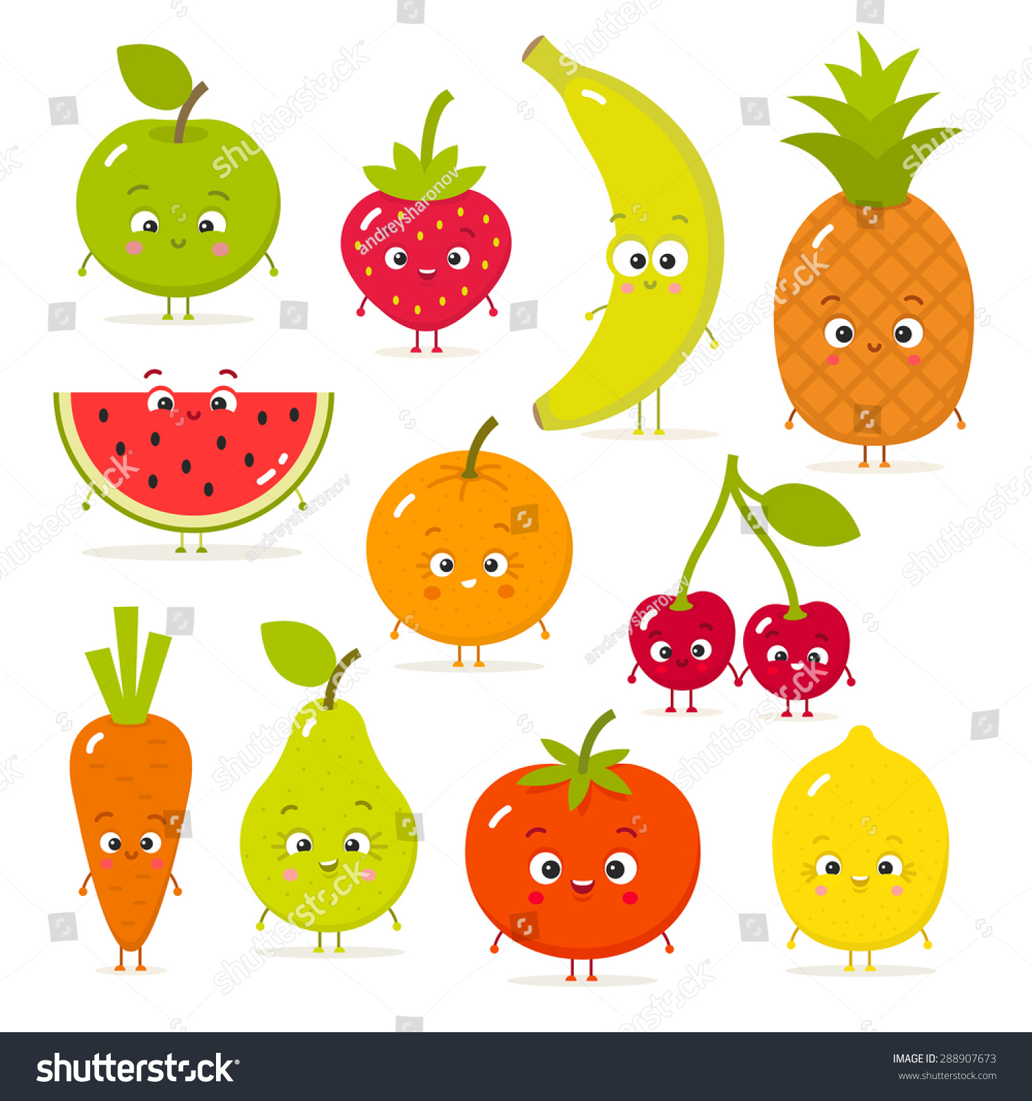 Cartoon Fruits Vegetables Eyes Flat Style Stock Vector