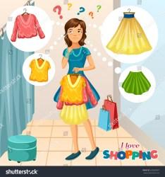 Cartoon Girl Clothes Store Day Shopping Stock Vector Royalty Free 630650087