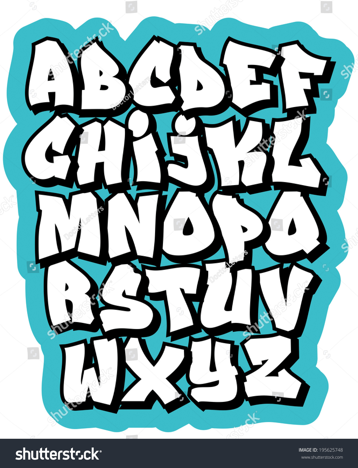 Huruf A Sampai Z : huruf, sampai, Cartoon, Graffiti, Comic, Doodle, Alphabet, Stock, Vector, (Royalty, Free), 195625748