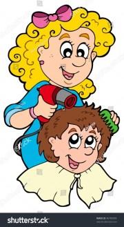 cartoon hair stylist vector illustration