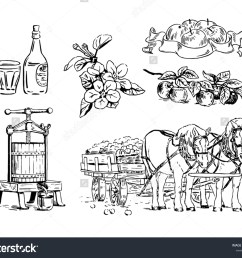 cartoon illustration of apple branches flowers press for squeezing horse cart bottle [ 1500 x 1249 Pixel ]