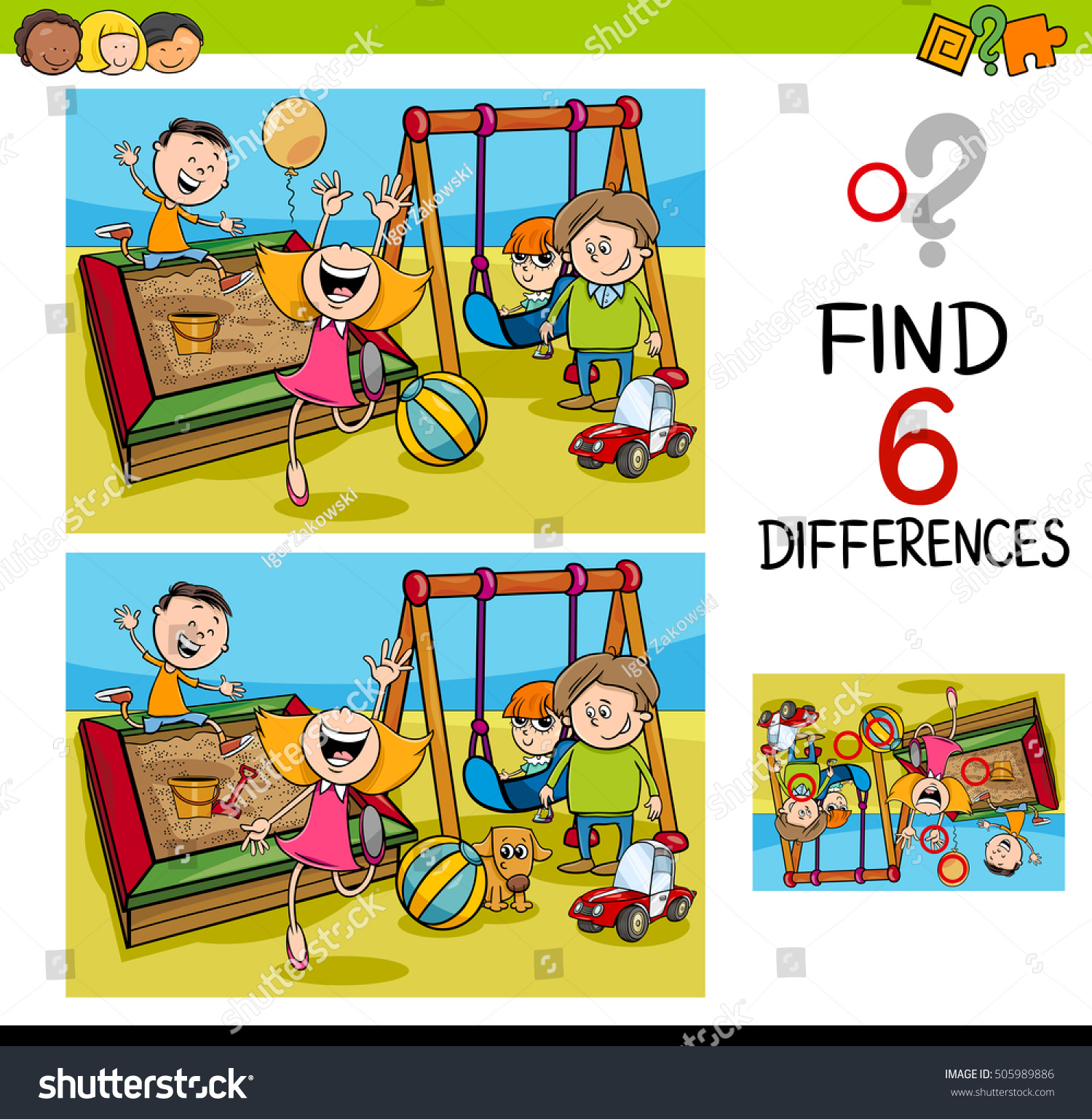 Cartoon Illustration Finding Difference Educational