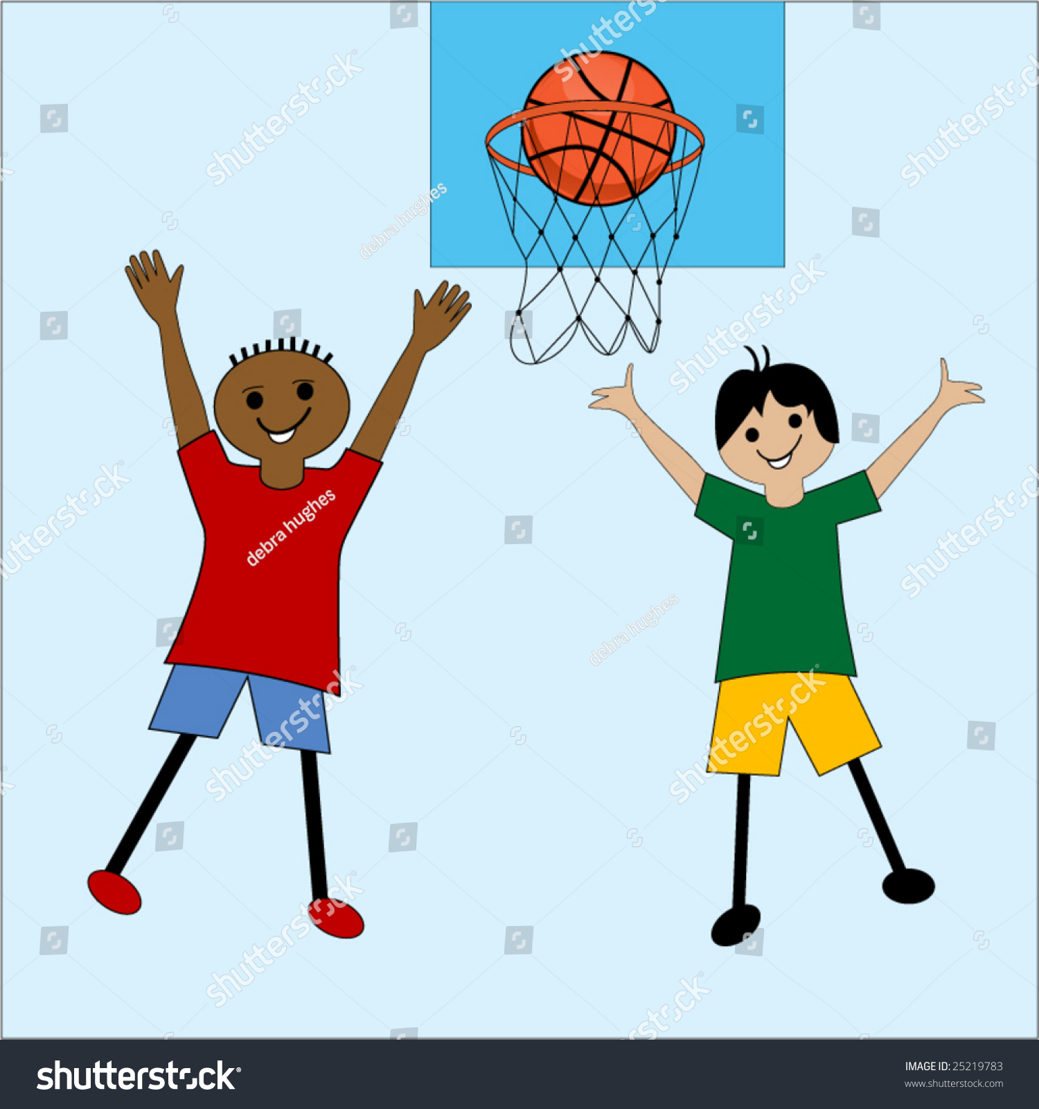 Cartoon Kids Playing Basketball Stock Vector Illustration