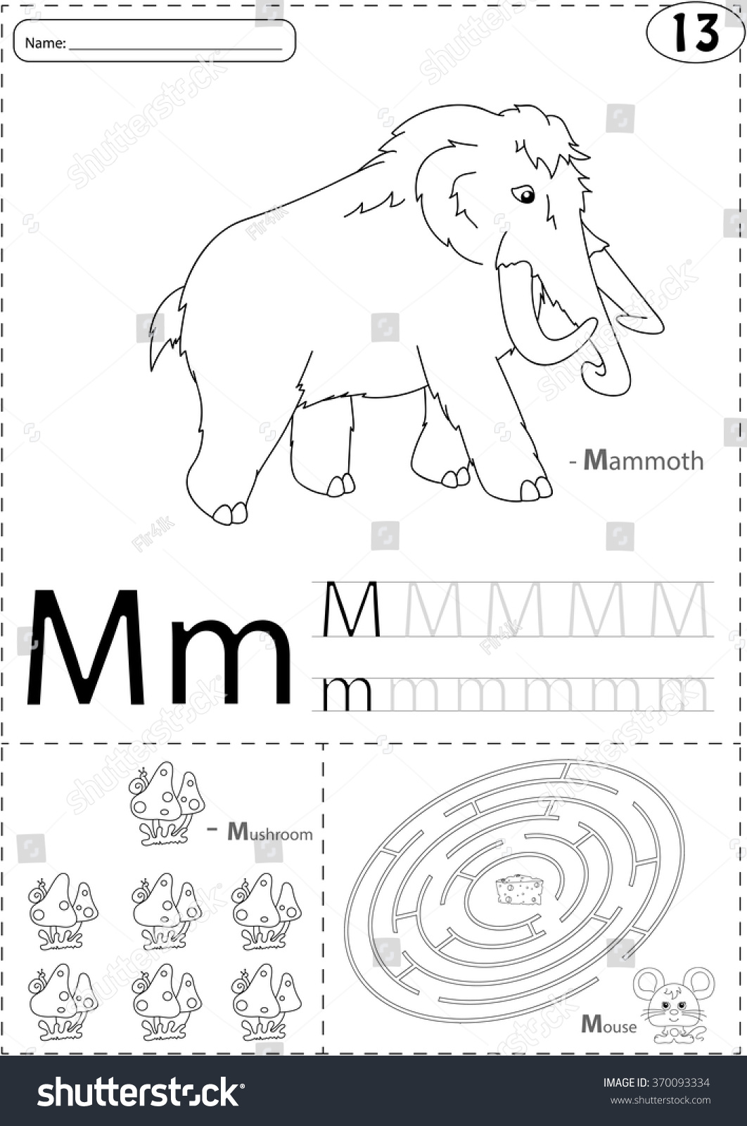 Cartoon Mammoth Mushroom And Mouse Alphabet Tracing Worksheet Writing A Z Coloring Book And