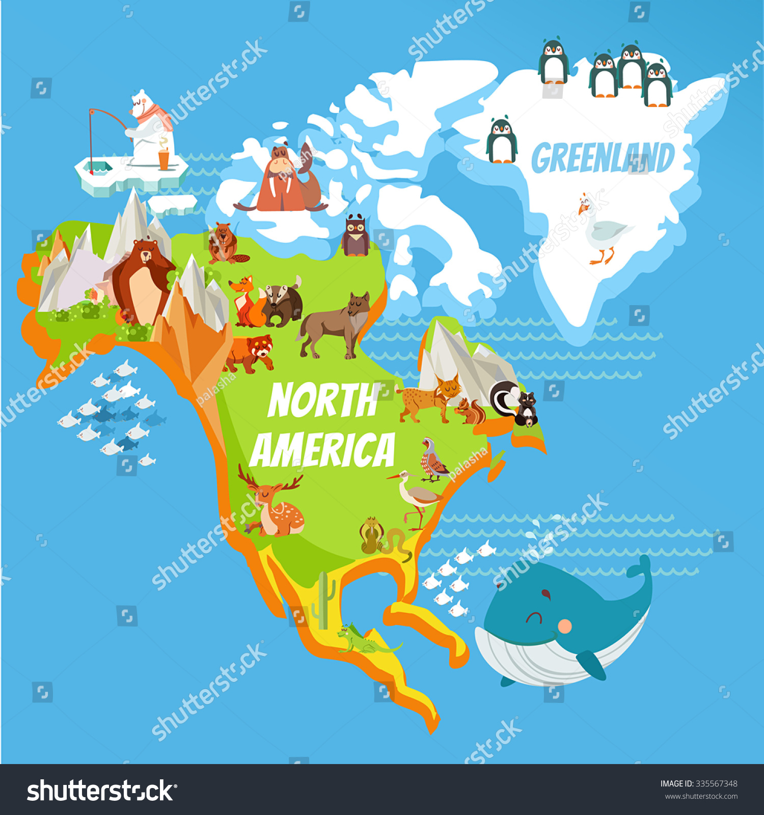 Cartoon Map North America Continent Riversmountains Stock