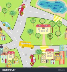 Cartoon Map Seamless Pattern Small Town Stock Vector Royalty Free 172029149