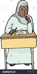 Cartoon Worried Muslim Female Student Desk Stock Vector Royalty Free 292383701