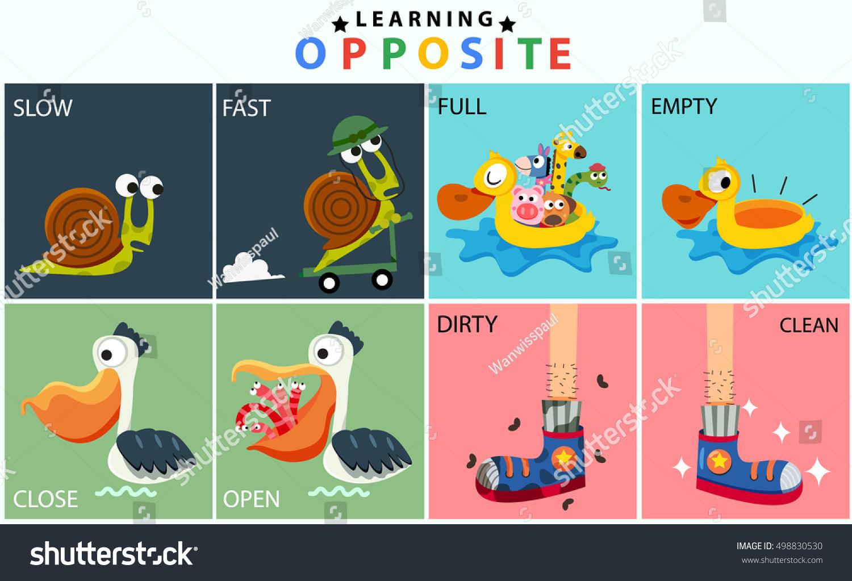 Cartoon Opposite Vocabulary Set Slow Fast Stock Vector