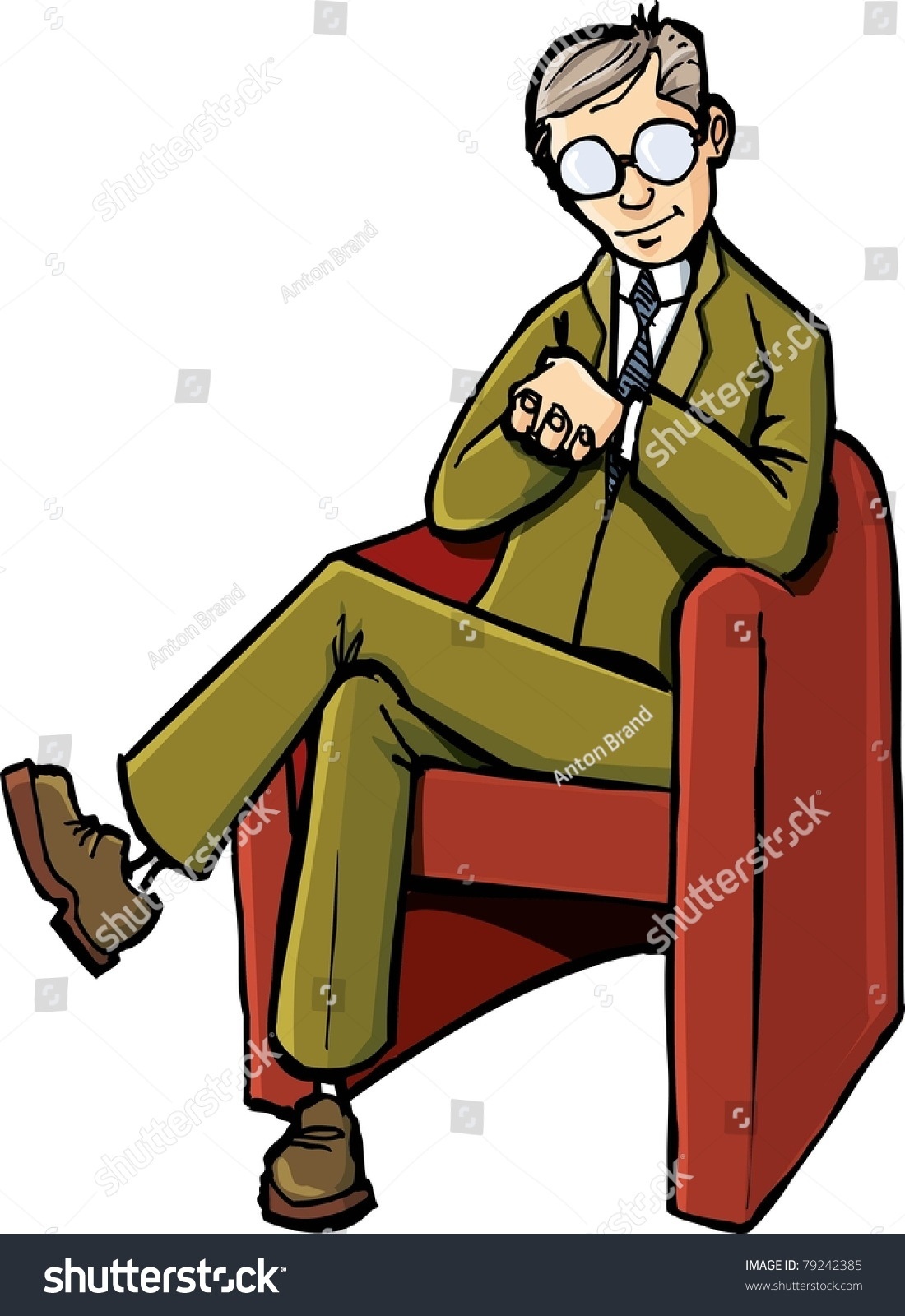 Psychiatrist Chair Cartoon Psychiatrist Sitting On His Chair Stock Vector