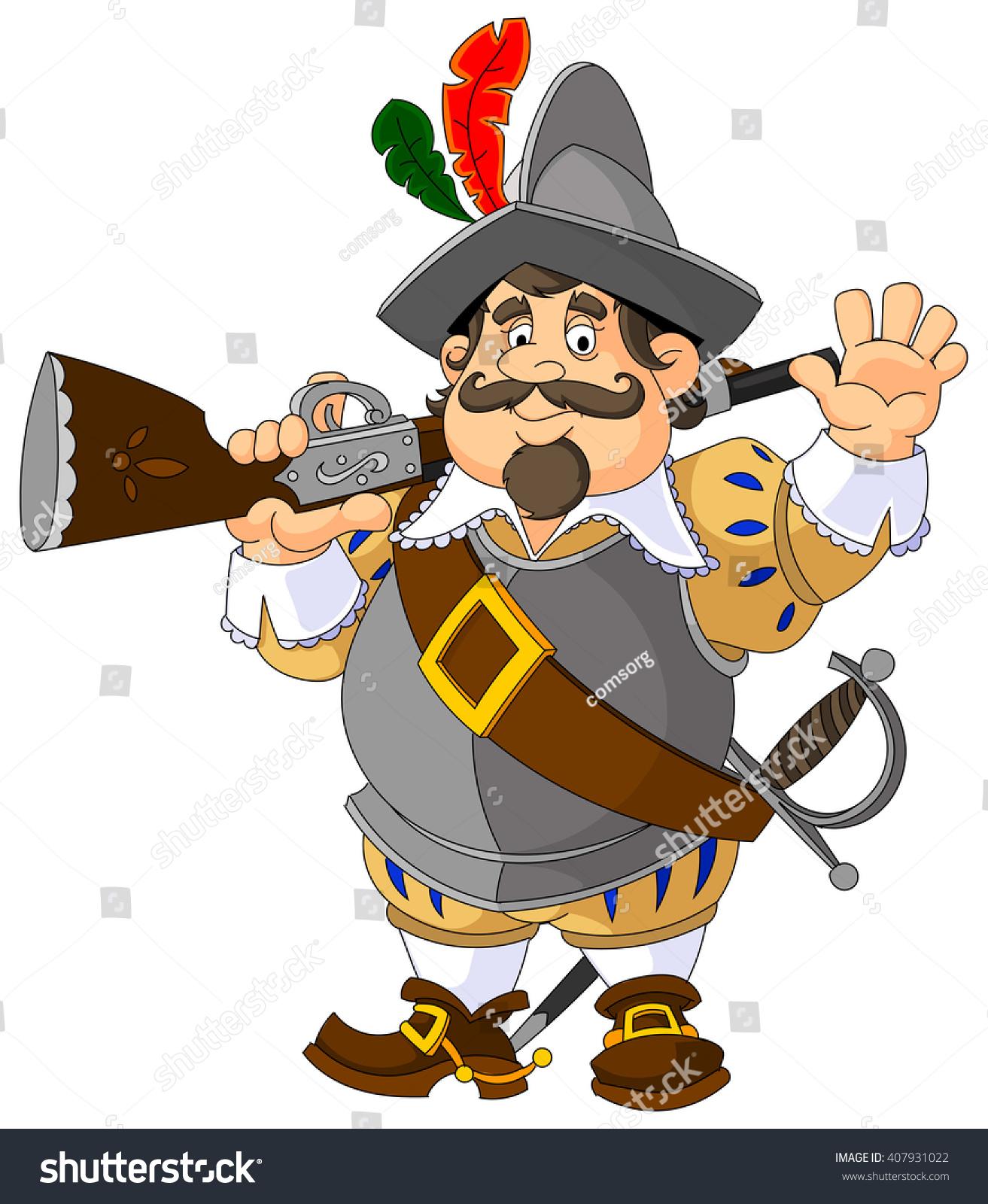 Cartoon Spanish Conquistador Musket Gesture Greeting Stock