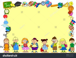 subjects frame cartoon students banner shutterstock vector pic