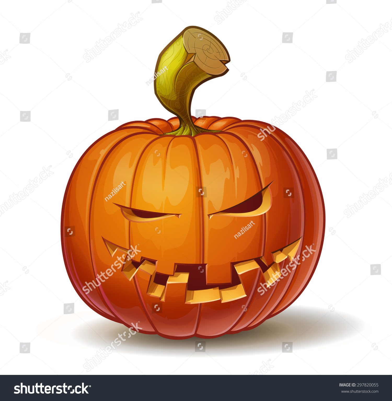 Cartoon Vector Illustration Of A Jack O Lantern Pumpkin Curved In A Mean Expression Isolated On