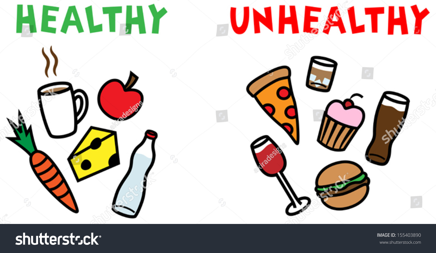 Cartoon Vector Illustration Difference Between Healthy