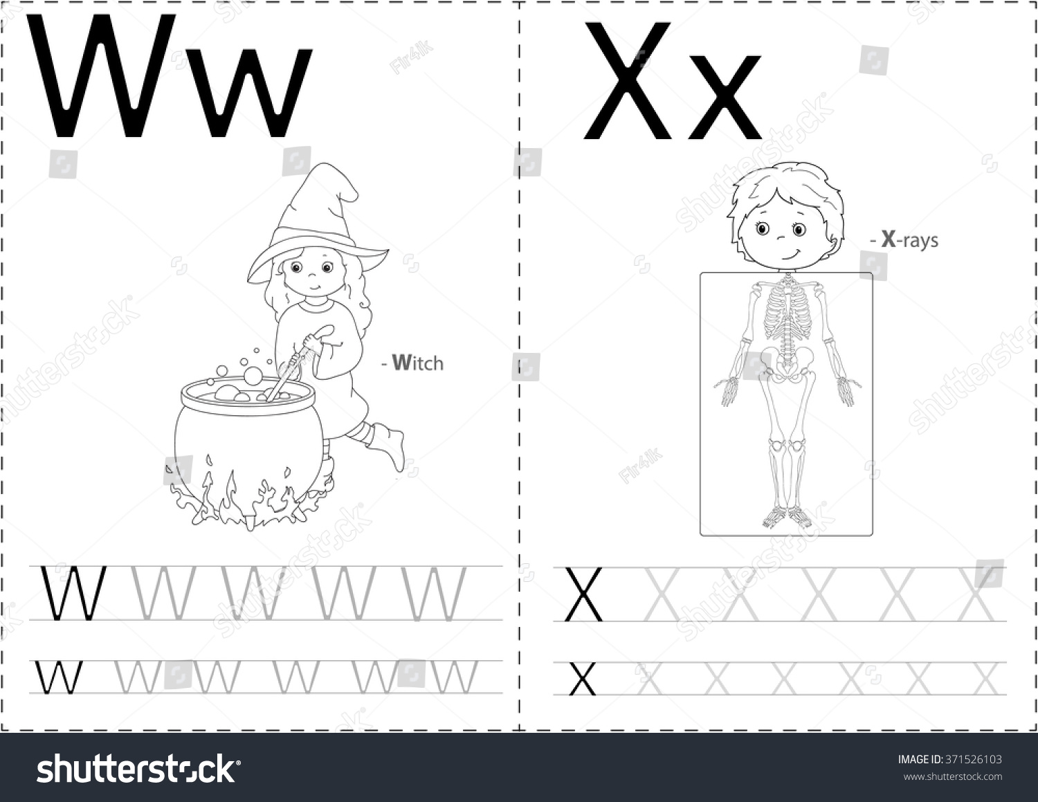 Cartoon Witch And X Rays Alphabet Tracing Worksheet