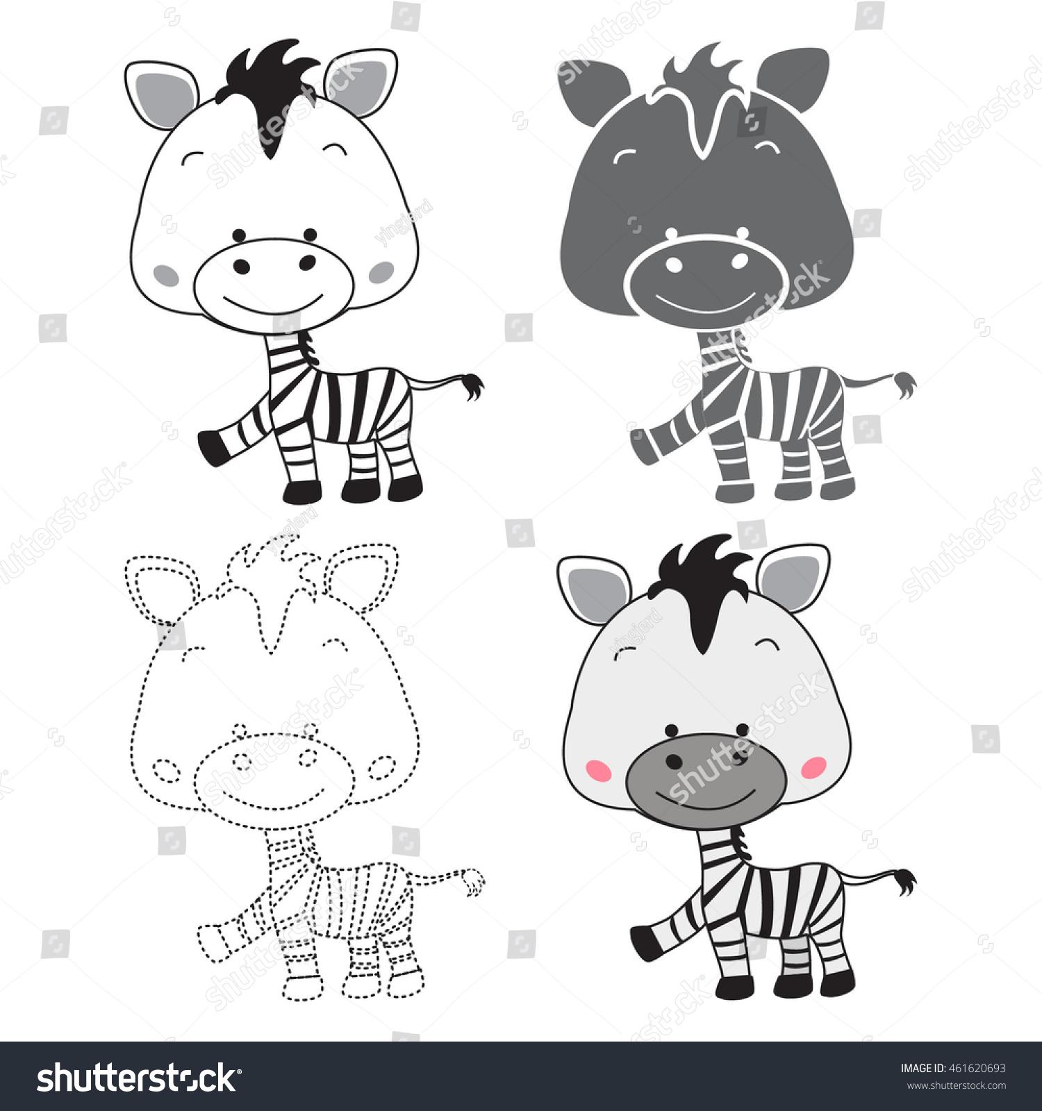 Cartoon Zebra Dot Dot Educational Game Stock Vector
