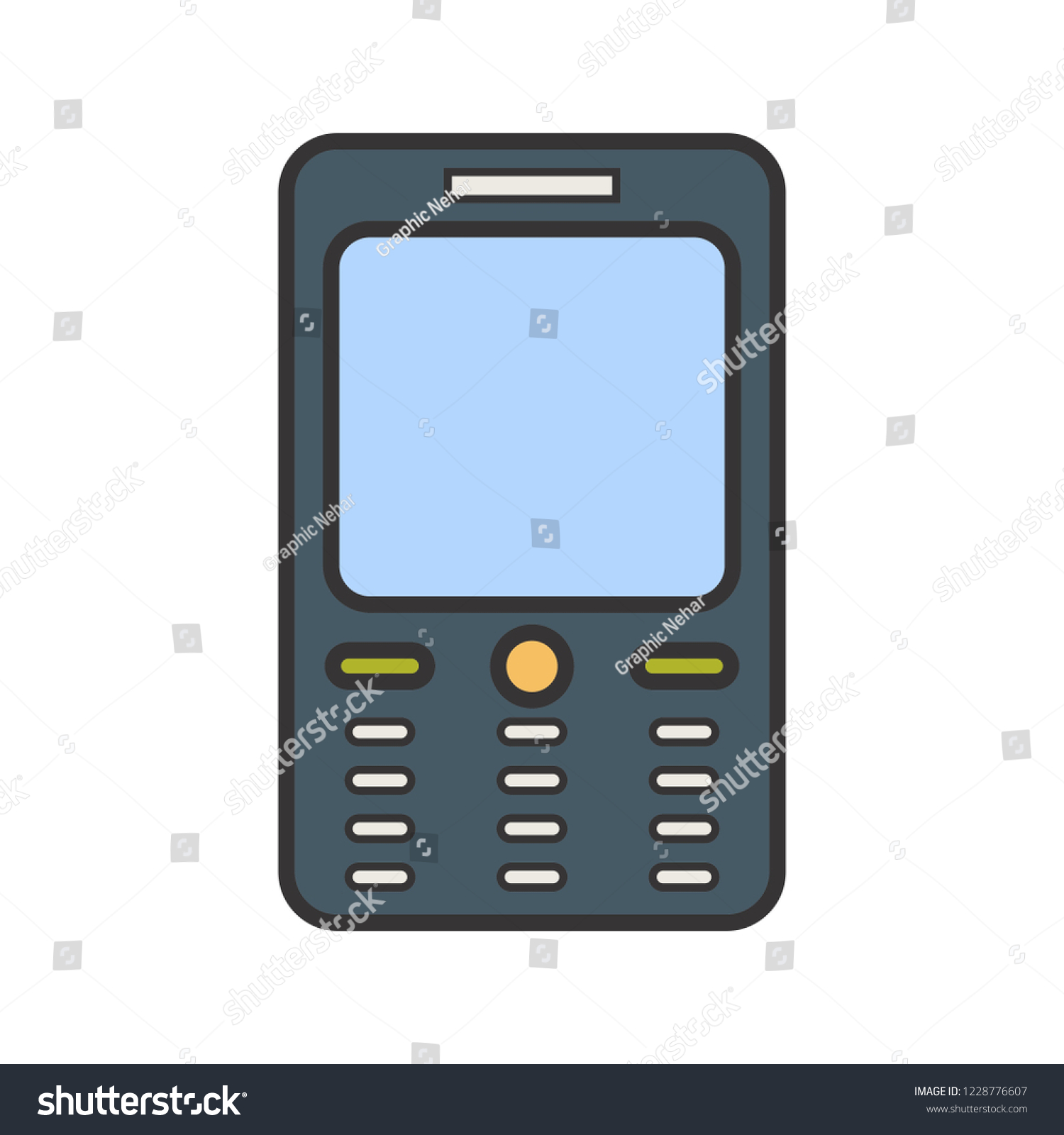 hight resolution of cell phone line filled multi color icon