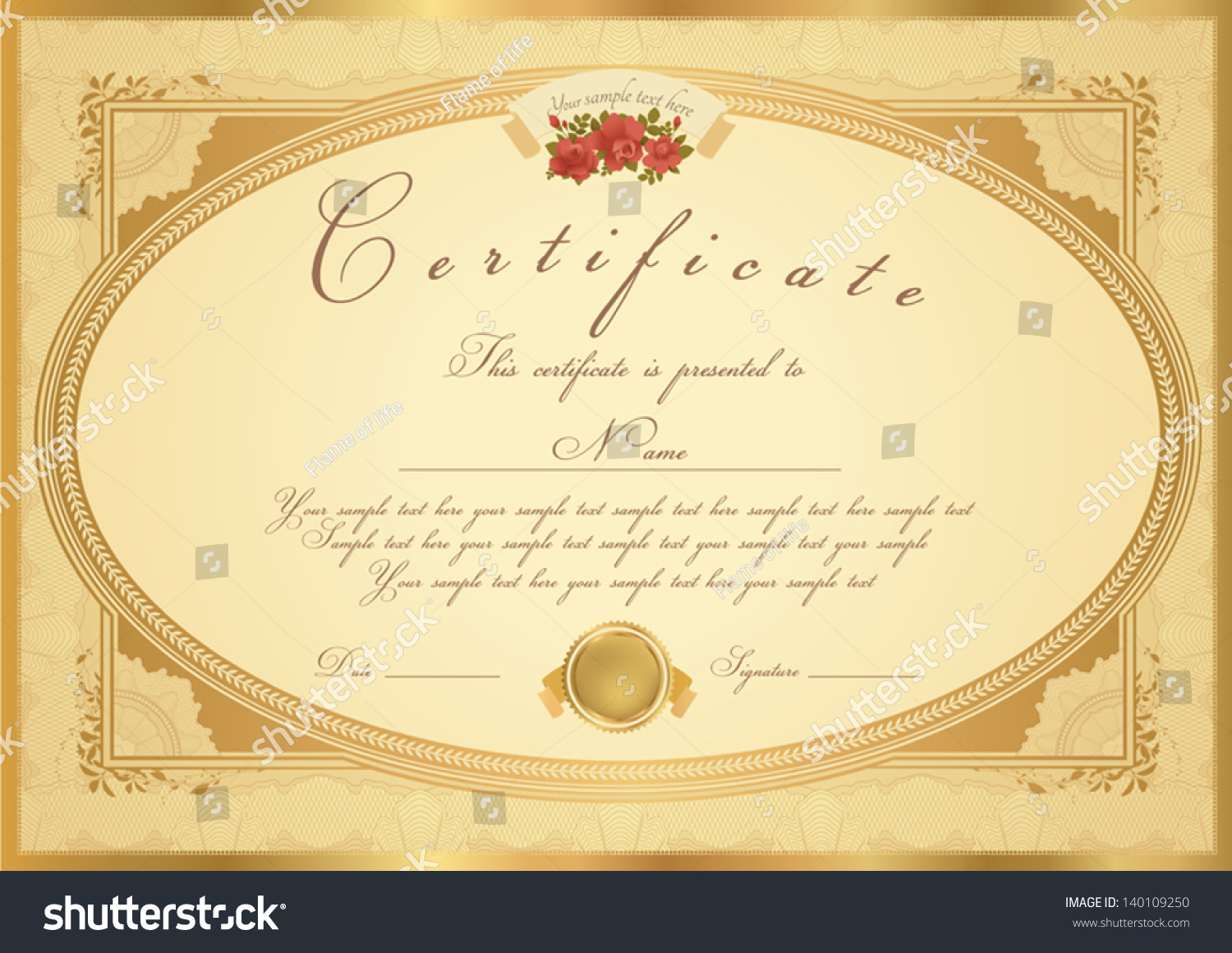 Certificate / Diploma Of Completion (Design Template / Sample Background)  With Flower Pattern (