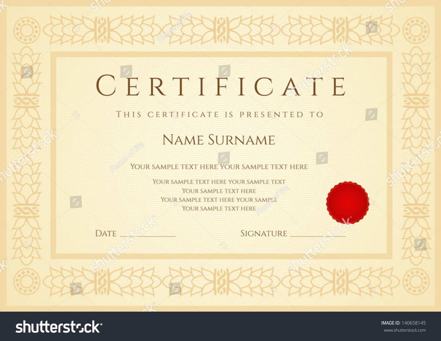 Certificate / Diploma Of Completion (Design Template / Sample Background)  With Guilloche Pattern (