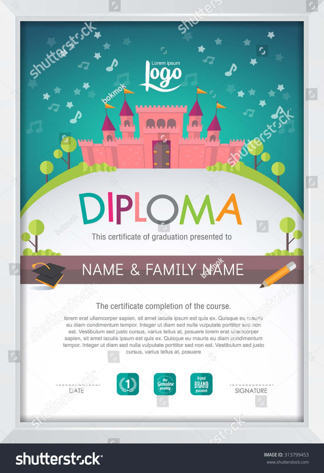 Certificate Kids Diploma Kindergarten Template Layout Stock Vector  Certificate Kids Diploma Kindergarten Template Layout Castle Background