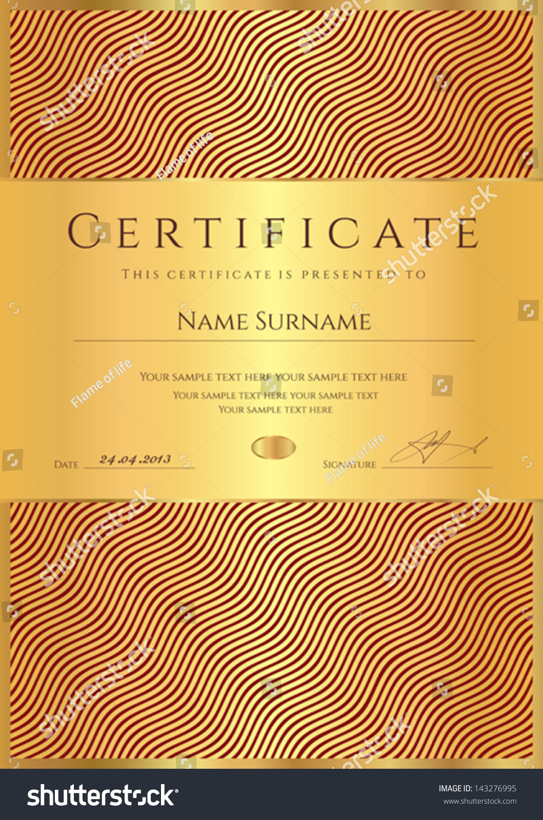 Certificate Of Completion (Template Or Sample Background) With Golden Wave  Lines Pattern. Gold
