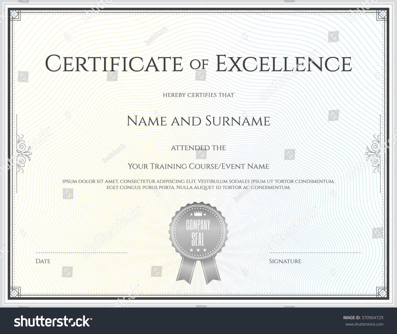 Certificate Excellence Template Vector Achievement