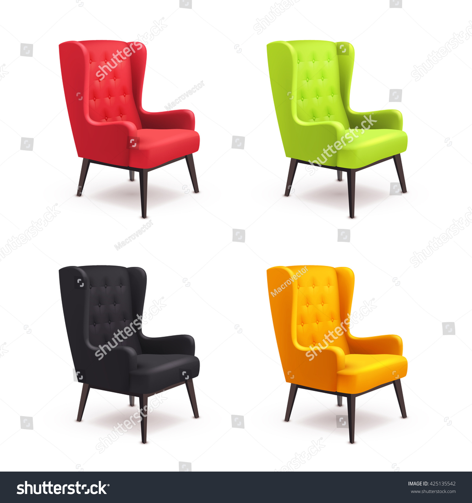Colorful Wooden Chairs Chair Realistic Icon Set Four Identical Stock Vector