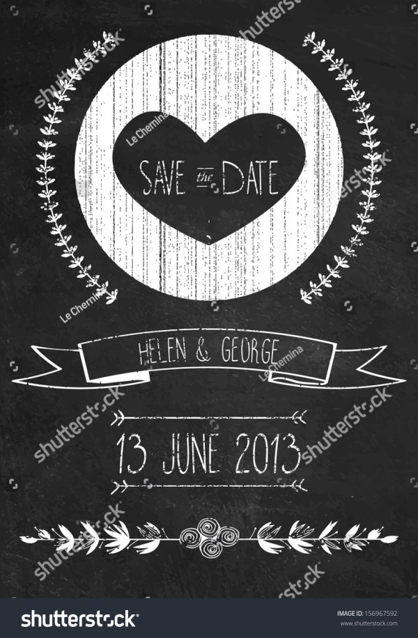 Chalkboard Save Date Wedding Invitation Template Stock